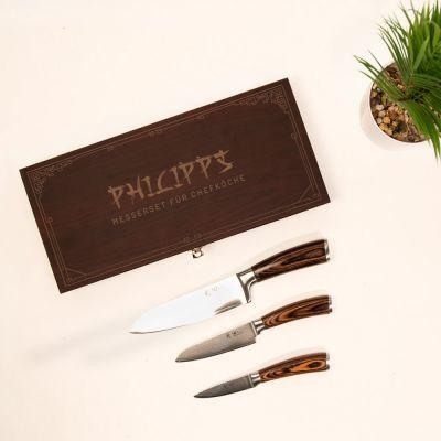 Damastmesser Set in Holzbox mit Text