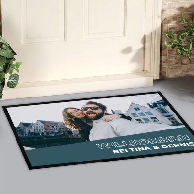 Fußmatte mit Bild und Text