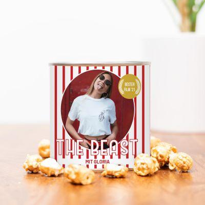 Goldenes Popcorn mit Bild und Text