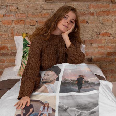 Decke mit 5 Bildern und Text