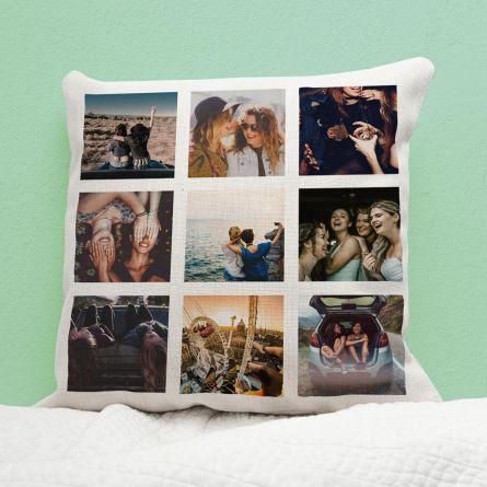 Personalisierbarer Kissenbezug mit 9 Bildern