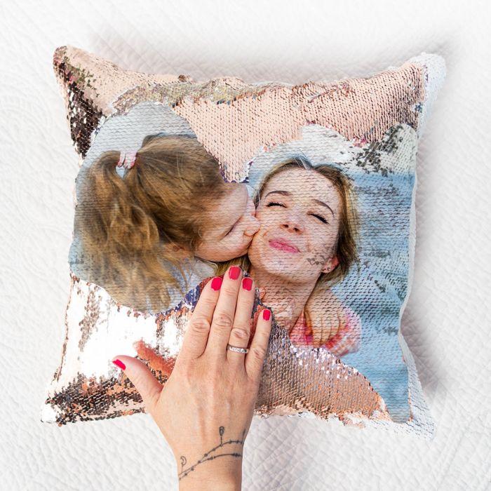 Personalisierbarer Pailletten Kissenbezug mit verstecktem Foto