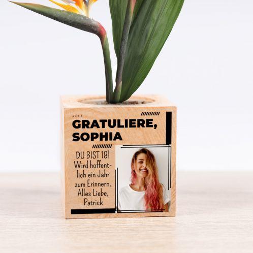 Ecocubes im Holzwürfel mit Bild und Text