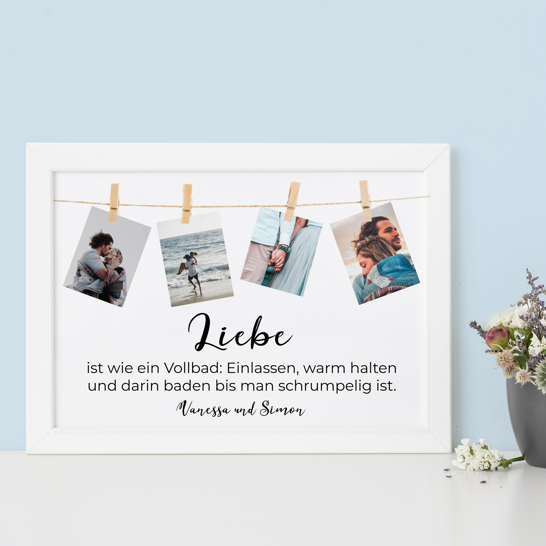 Hochzeitsgeschenke personalisierbares Poster mit Spruch und Fotos