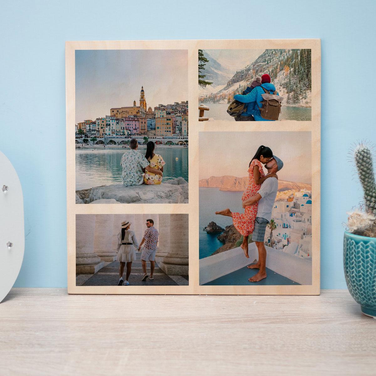 Hochzeitsgeschenke personalisiertes Holzbild mit Fotos