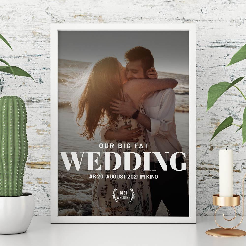 Hochzeitsgeschenke personalisiertes Poster im Kinoplakat Stil