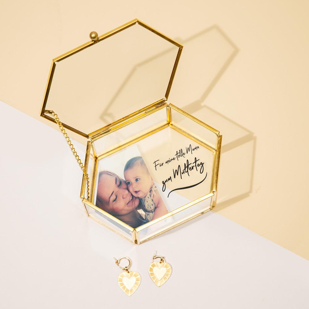 Geschenke für Mama personalisierbare Glasbox mit Foto