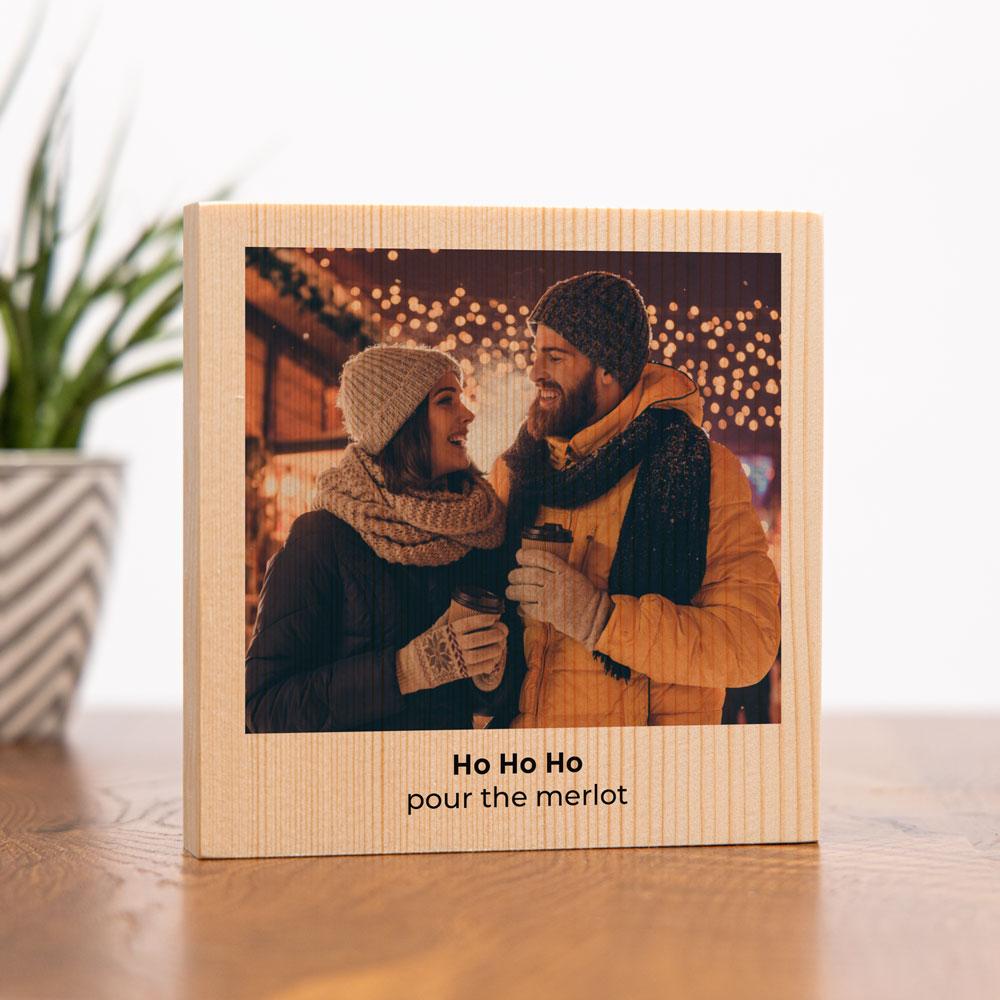 Weihnachtsgeschenke personalisierbares Holzbild mit Foto und Text