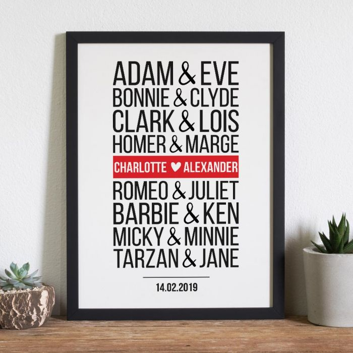 Berühmte Paare Modern - Personalisierbares Poster