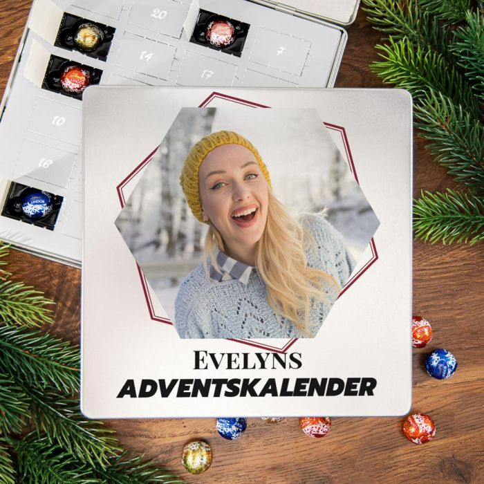Adventskalender - Pralinen Metallbox mit Bild und Text