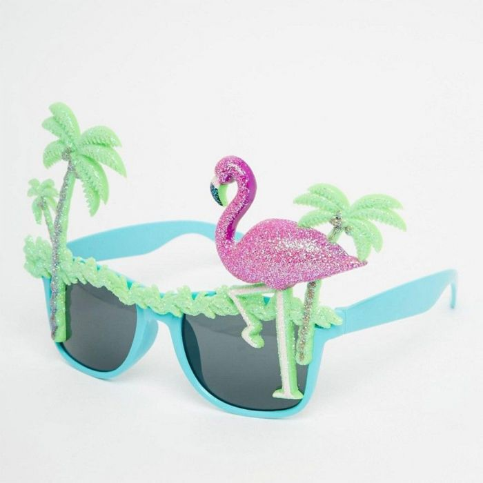 Flamingo-Sonnenbrillen mit Palmen