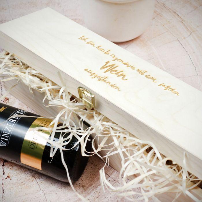 Personalisierbare Wein Geschenkekiste aus Holz