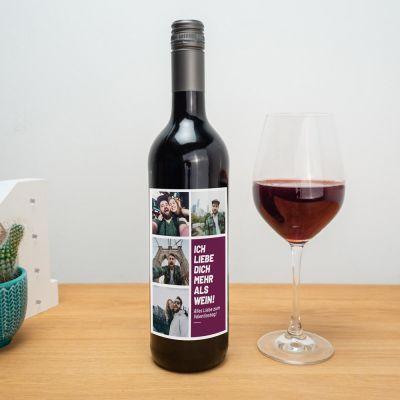 Personalisierbarer Wein mit Bildern und Text