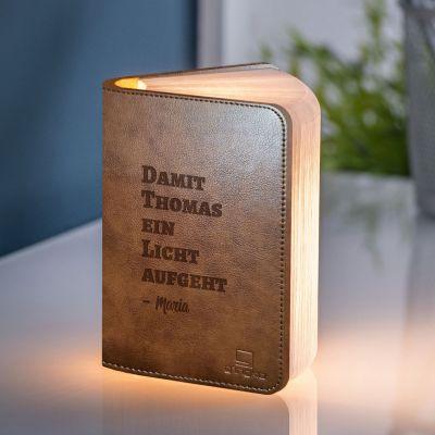 Personalisierbare Buch-Leuchte mit Text