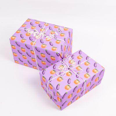 Geschenkpapier Pfirsich und Aubergine