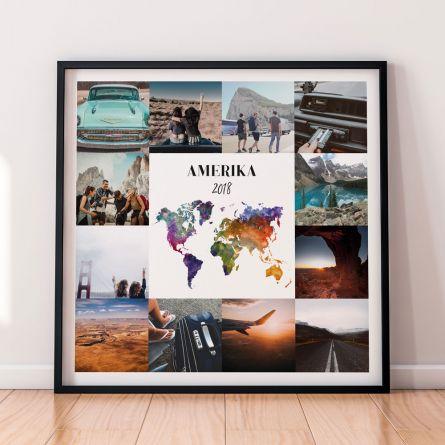 Personalisierbares Reise-Poster mit 12 Bildern