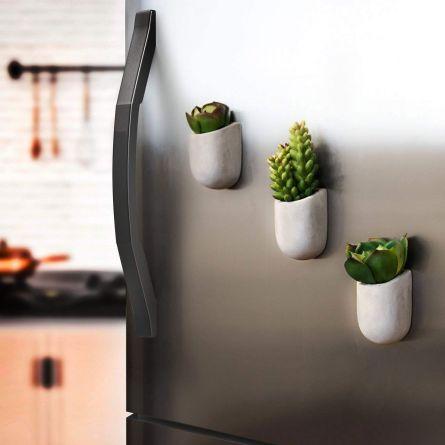 Magnetische Mini Blumentöpfe aus Beton 3er-Set