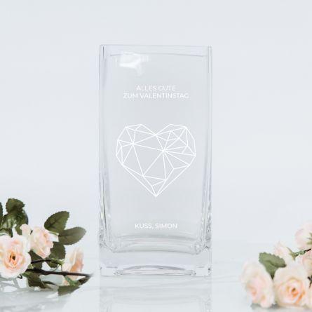 Vase mit Herz und Text