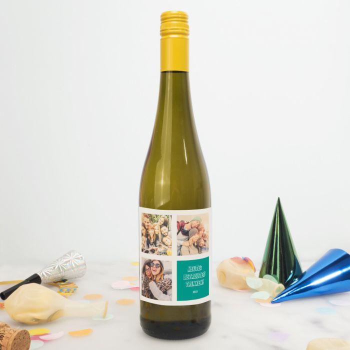 Personalisierbarer Wein mit 3 Bildern und Text