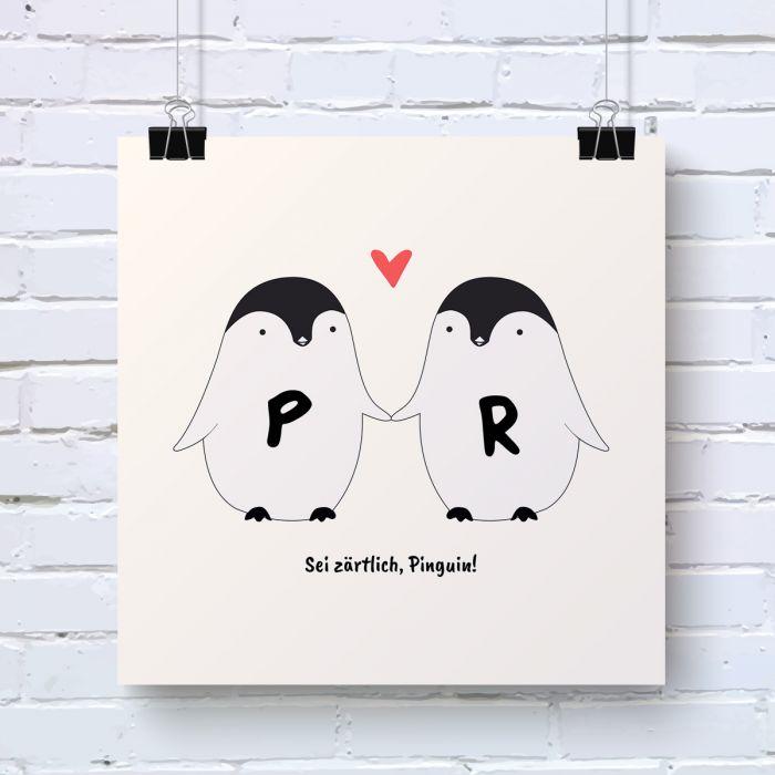 Pinguin Pärchen - Personalisierbares Poster