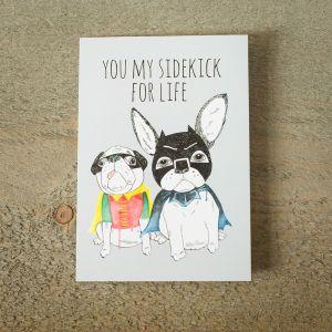 Grußkarte Superhelden-Schoßhunde