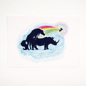 Grußkarte Einhorn Nashorn