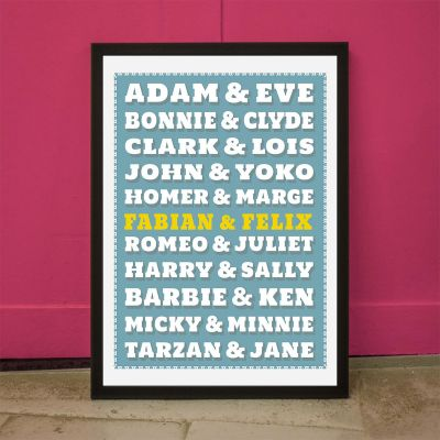 Geschenk für Paare - Berühmte Paare - Personalisierbares Poster