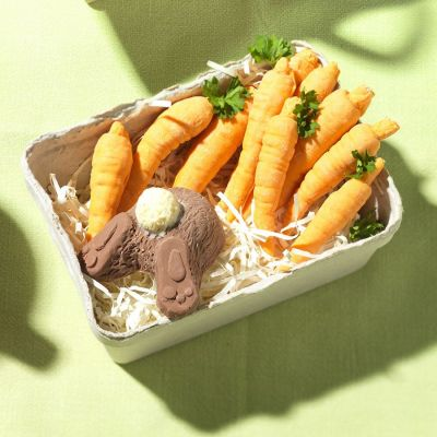Süßigkeiten - Hase und Möhren aus Schokolade