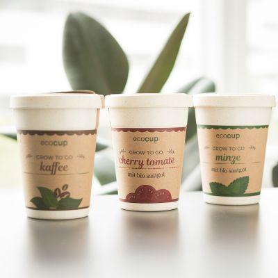 Geschenke für Frauen - ecocup - Pflanzen im Kaffeebecher
