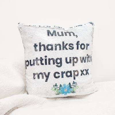 Geschenke für Frauen - Kissenbezug mit versteckter Botschaft in Silber