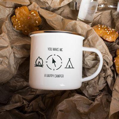 Weihnachtsgeschenke für Mama - Metalltasse Happy Camper