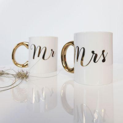Geburtstagsgeschenk für Mama - Goldene Tassen Mr & Mrs