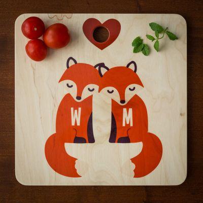 Geschenk für Paare - Personalisierbares Fuchs Schneidebrett