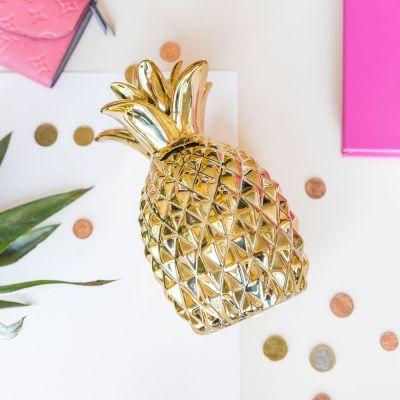 Romantische Geschenke - Sparbüchse Goldene Ananas