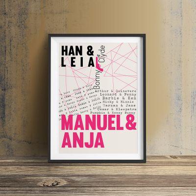 Geschenk für Paare - Berühmte Liebespaare - Personalisierbares Poster