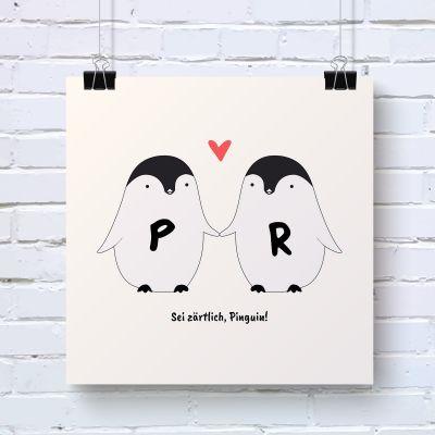 Valentinstag Geschenke - Pinguin Pärchen - Personalisierbares Poster