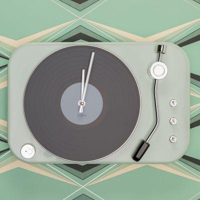 Uhren - Plattenspieler Uhr in Mintgrün