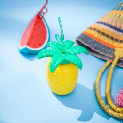 Sommer Gadgets - Südfrüchte-Becher mit Trinkhalmen