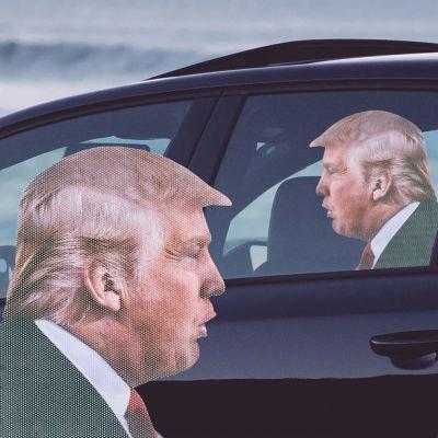 Wichtelgeschenke - Autoaufkleber Trump