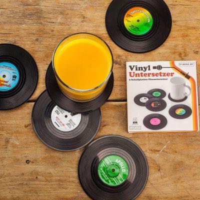 Weihnachtsgeschenke für Männer - 6 Untersetzer im Vinyl-Schallplatten-Look
