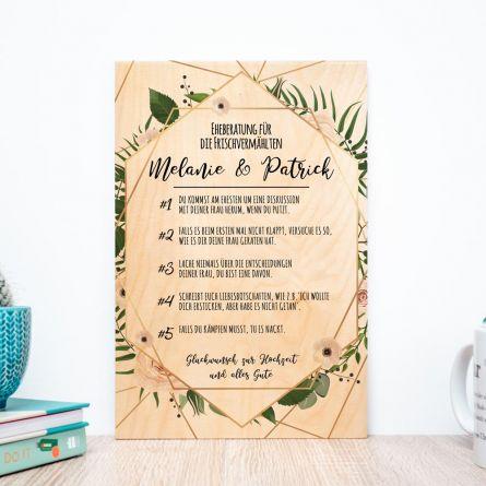 Personalisierbares Holzbild mit guten Ratschlägen