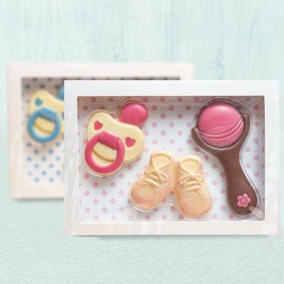 Geschenke zur Geburt - Baby-Sets aus Schokolade