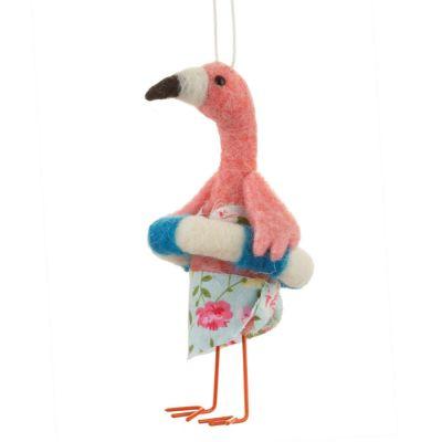 Weihnachtsdeko - Flamingo auf Strandurlaub am Christbaum