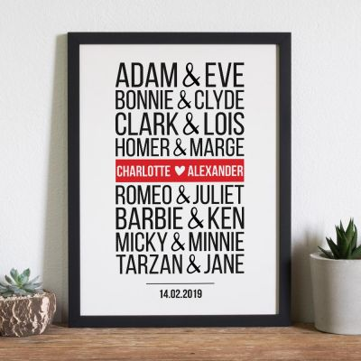 Weihnachtsgeschenke für Frauen - Berühmte Paare Modern - Personalisierbares Poster