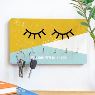 Deko - Personalisierbares Schlüsselbrett Augen zu mit Text