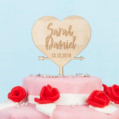 Hochzeitsgeschenke - Personalisierbarer Cake Topper mit Herz