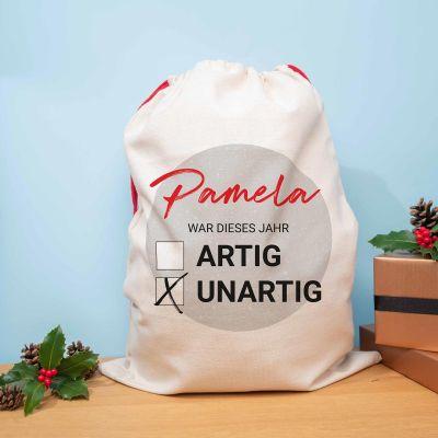 Geschenke für Kinder - Personalisierbarer Weihnachtssack Artig vs. Unartig