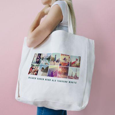 Geschenke für Frauen - Personalisierbare Tasche mit 10 Bildern und Text