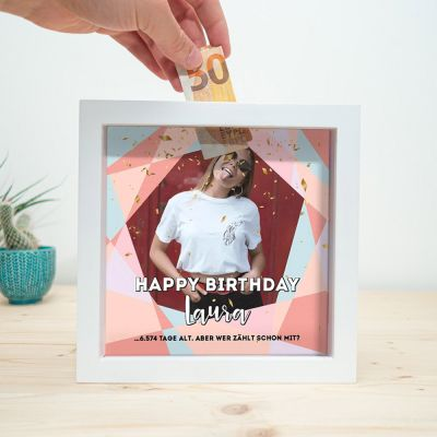 Geburtstagsgeschenke - Personalisierbare Spardose zum Geburtstag