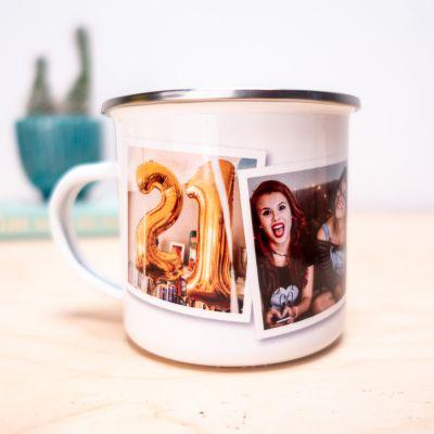Geschenke für Freundin - Personalisierbare Metalltasse mit Fotos